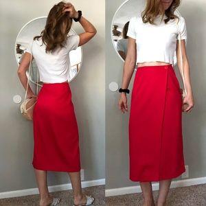 Vintage red midi wrap skirt